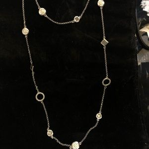 Long silver and crystal necklace